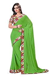 Fashion205 Women Chiffon Saree (TOK-AR7-1036-A_Green_Green_Free Size)