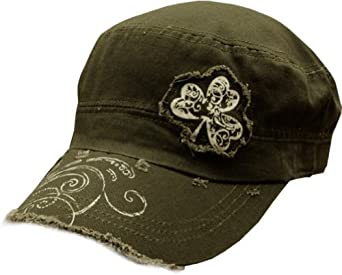 Irish Shamrock Vintage Military Cadet Hat (Olive Green)
