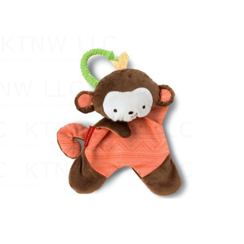 Cuddle Blankie Rattle Toy - Orange Monkey - 1