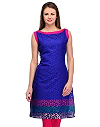 Awesome Fab Blue Color Brasso Fabric Women's Straight Kurti