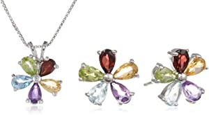 Sterling Silver Multicolored Flower Stud Earrings and Pendant in Amethyst, Blue Topaz, Citrine, Garnet and Peridot Box Set