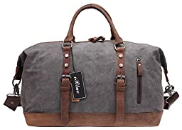 Iblue Oversized Canvas Leather Large Capacity Duffle Bag Weekender Bag Grey 21.6 Inch #381 (M, grey)