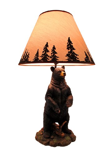 Standing Grizzly Bear Table Lamp w/ Silhouette Shade