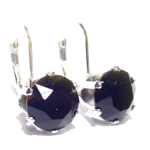 Large 925 Sterling Silver Lever back earrings set with sparkling Jet Black Swarovski crystal stones. Gift Box. Beautiful jewellery for very special people.