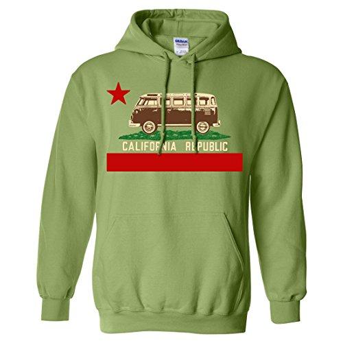 California Republic Vintage Van Sweatshirt Hoodie By Dsc - Kiwi X-Large front-296001