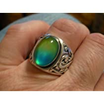Mood Ring Sterling Silver Man or Ladies Mood Color Meanings Chart
