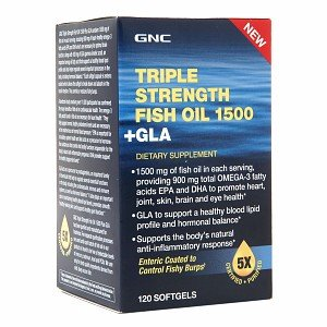 GNC Triple Strength Fish Oil 1500 + GLA, Softgels, 120 ea
