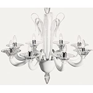 7088 Chandelier Size: 75 cm H x 75 cm Dia, Shade / Dropper Colour: Milk-White and Clear Glass *Top Deals