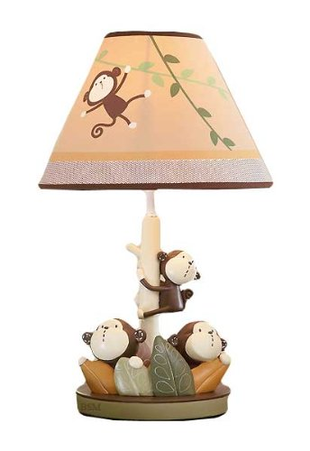 Carter's Monkey Bars Lamp Base And Shade, Chocolate, 5.5 X 12