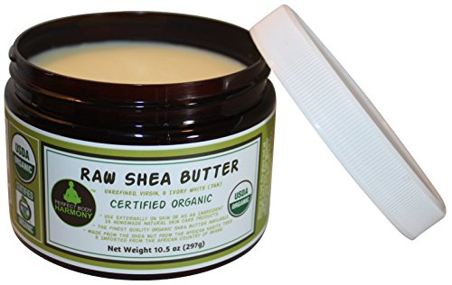 CERTIFIED ORGANIC Raw Shea Butter; BPA Free Amber Jar * Eczema & Acne Relief, Daily Natural Noncomedogenic Skin & Face Moisturizer; Great for Babies; Premium African * Unrefined Ivory (Tan); 10.5 oz
