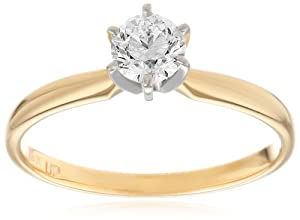 14k Yellow Gold Round Diamond Solitaire Engagement Ring (1/2 cttw, H-I Color, SI2-I1 Clarity), Size 7