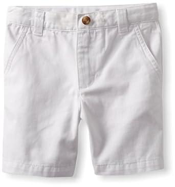 Kitestrings Little Boys' Toddler Cotton Twill Flat Front Short, White, 3T