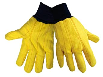 Global Glove C16Y Cotton Chore Glove with Blue Knit Wrist Cuff, Work, Large, Yellow (Case of 72)