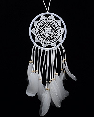 BSLINO Dream Catchers White Handmade Beaded Feather Native American Dreamcatcher Circular Net For Car Kids Bed Room Wall Hanging Decoration Decor Ornament Craft, Dia 6.3inch/16cm