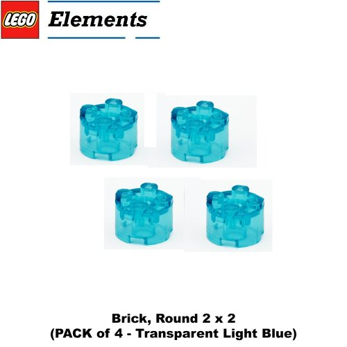 Lego Parts: Brick, Round 2 x 2 (PACK of 4 - Transparent Light Blue) - 1