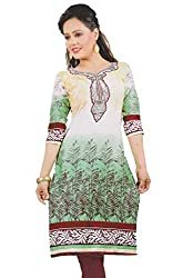 Women's Cotton printed Kurti, white & green, unstitched cloth material (kutri)
