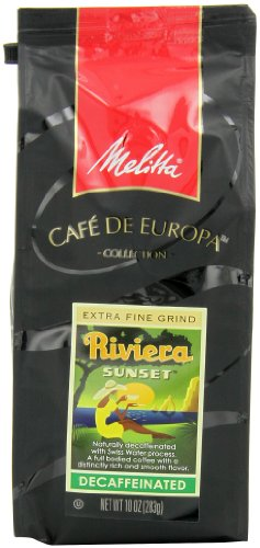 Melitta Café de Europa Gourmet Coffee, Riviera Sunset Decaffeinated Ground, Medium Roast, 10 Ounce
