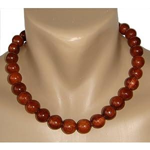 Hawaiian Large Koa Wood Bead Necklace Choker From Hawaii