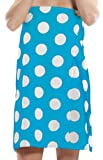 Terry Women Bath Wrap Towel Cotton Cover Up Made in USA Velcro Closure - One Size Aqua Polka Dotted