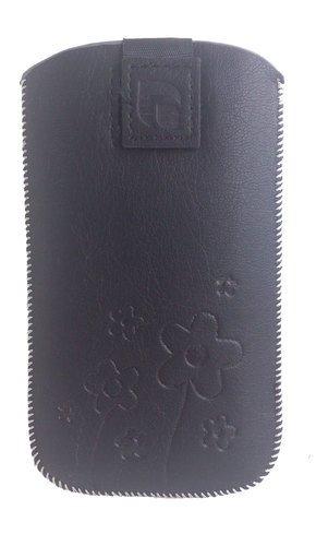 EGO Pull Up Blumen / Flowers Schwarz Handytasche, Handy, Smartphone, Tasche für HTC HD2, Samsung Galaxy S Plus i9000, Samsung Wave II S8530, Samsung Wave III S8600, Samsung Galaxy Ace 2 (i8160), Samsung Galaxy S Advance (i9070), Samsung Omnia M, LG L5, LG Optimus P970, Nokia Lumia 820, Nokia Lumia 800, Nokia Lumia 710, Nokia Lumia 610, Sony Ericsson Xperia ARC / S (LT18i / LT15i), Sony Ericsson Xperia Play, Sony Xperia J (ST26i), Sony Xperia P (LT22i), HTC HD2, HTC One S, HTC One V, HTC Desire,