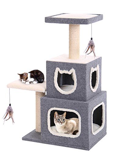 Unique Cat Condo Two Story with Two Perches & Sisal Scratching Posts, Plush Covering