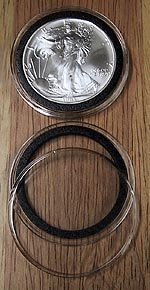 10 Black Ring Type 40mm Air Tite Coin Holders for American Silver Eagles by Air Tite