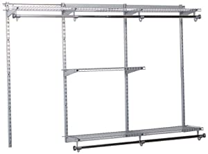 Rubbermaid Configurations Custom Closet Organizer, Classic, 3 to 6 Foot, Titanium (FG3H11DWTITNM)