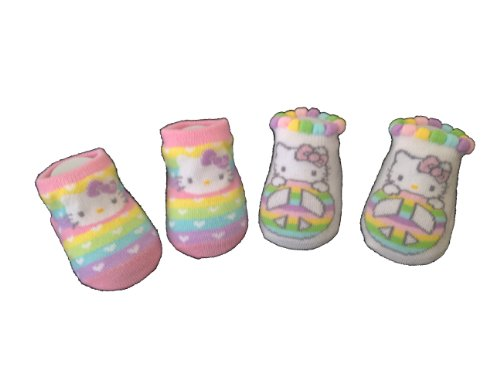 Sanrio Hello Kitty Baby Booties Socks, 2 Pair Set