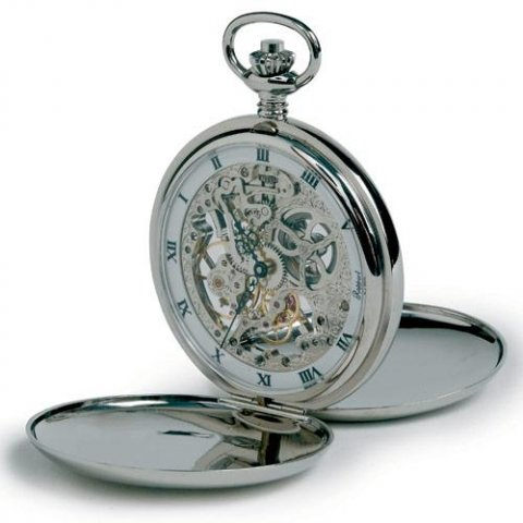 Rapport Chrome Plated Mechanical Skeleton Double Hunter Polished Pocket Watch Pw91