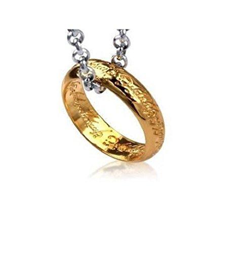 Il Signore degli Anelli / Lo Hobbit Collana Anello placcato oro 18ct e Pendente con 70 centimetri catena . Viene fornito con sacchetto regalo organza .