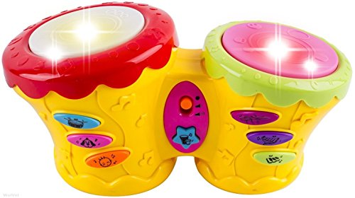 WolVol-Musical-Double-Pat-Drum-Toy-with-Lights-and-Many-Interesting-Sound-Effects-Great-toy-for-toddlers