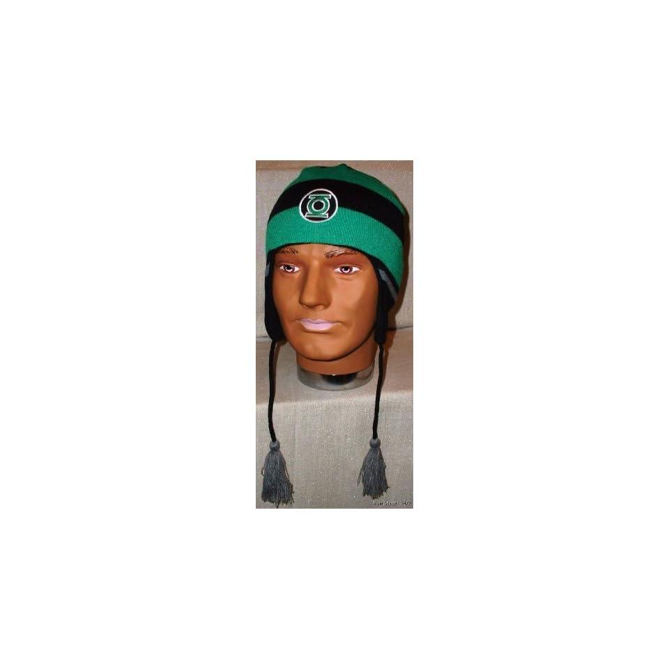 4cf9f143b43 GREEN LANTERN Logo Knitted Laplander Beanie CAP HAT on PopScreen