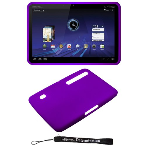 Purple - Soft Rubber Gel Silicone Skin Cover Case for Motorola XOOM Android Tablet (Verizon Wireless)
