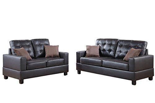 Poundex F7857 Bobkona Aria Faux Leather 2 Piece Sofa and Loveseat Set, Espresso (Espresso Living Room Set compare prices)
