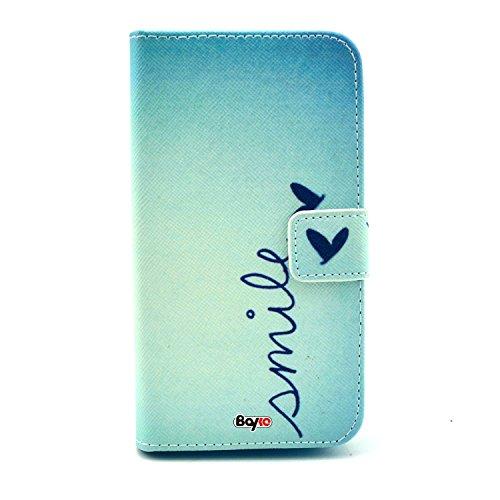 Bayke Brand / Moto X 2Nd Case , Smile Pattern - Elegant Fashion Print Style Pu Leather Wallet Type Flip Folio Design Protective Skin Cover With Credit Card Holder Slots Case For Motorola Moto X 2Nd Generation Moto X+1 2014 Release