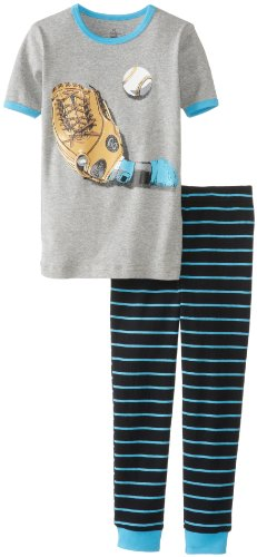 Petit Lem Little Boys' Baseball 2 Piece Pant Sleep Set, Blue Stripe, 5 front-531898