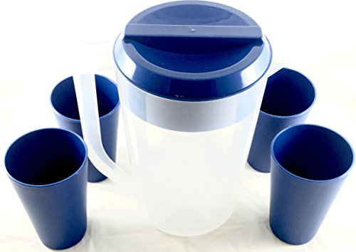 Large Pitcher and Tumblers Family Set (Blue) (The Lid Maid compare prices)