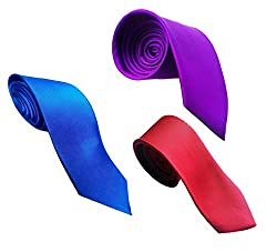 WSD men's narrow royal blue purple and red micro fiber tie pack of three (Multi-Coloured)