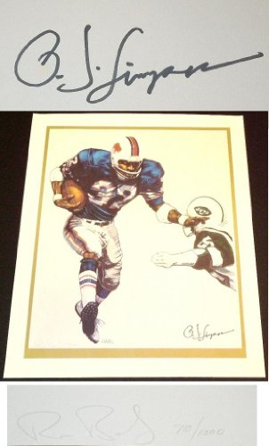 OJ Simpson Autographed / Hand Signed Buffalo Bills 24x28 inch Lithograph Photo - also signed by the Artist