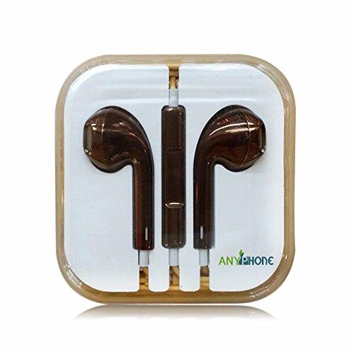 Anyphone Colorful Luxury Headset Headphone Earphone Volume Remote+Mic For Iphone4 5 Ipad3 4 Ipod (2 Metallic Brown)