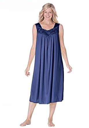 Only Necessities Women's Plus Size Tricot waltz-length nightgown (DARK NAVY,M)