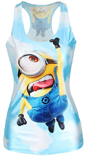 erdbeerloft - Damen Minion Comic Cartoon Tank Top Shirt Print, Größe One Size S-M, Mehrfarbig