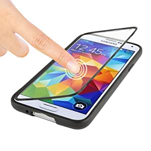 Crazy4Gadget Touch Screen Flip Frosted TPU Case for Samsung Galaxy S5 / G900 (Black)