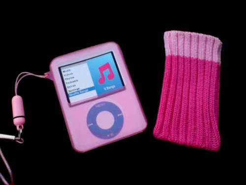 KMS - 3G PINK SILICONE COVER & PINK SOCK BOX SET FOR iPOD NANO 3RD GENERATION + EXCLUSIVE NEW PINK NECK STRAP