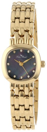 Lucien Piccard Women's 12012-YG-01MOP Teide Black Mother-Of-Pearl Dial Crystal Accented Gold Ion-Plated Stainless Steel Watch