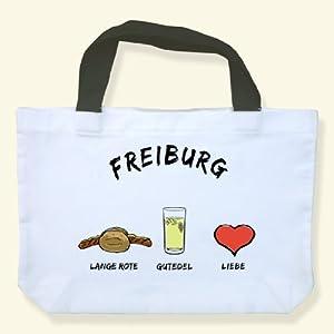 """Einkaufstasche """"Freiburg: Lange Rote-Gutedel-Liebe"""" - als Geschenk für Breisgauer & Fans der Stadt am Fuss des Schwarzwalds oder als Freiburg Souvenir - die stadtmeister"""