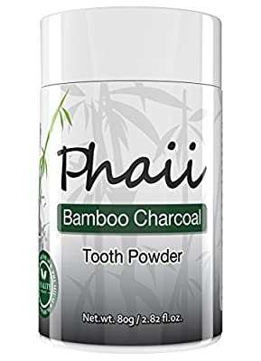 Bamboo Activated Charcoal Tooth Powder - Natural Teeth Whitening & Improves Mouth Hygiene - Tones Gums & Relieves From Gum Pain - Fights Toxins & Bacteria - Detoxifies, 100% Organic Toothpaste