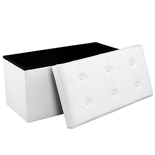 Songmics-Sitzhocker-Sitzbank-mit-Stauraum-faltbar-2-Sitzer-belastbar-bis-300-kg-kunstleder-wei-76-x-38-x-38-cm-LSF106