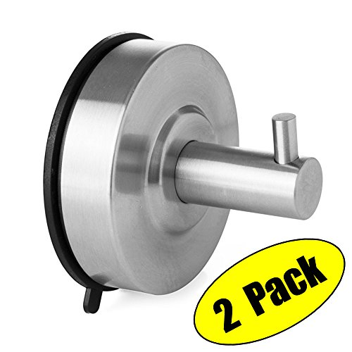 KES SUS 304 Stainless Steel Suction Cup Hook Single Coat Hook Removable Bathroom Shower Towel Hook Kitchen Wall Hook Strong and Heavy Duty Contemporary Style, Brushed Finish 2 Pack, A6260-P2