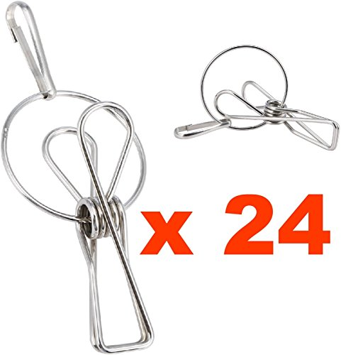 Stainless Steel Wire Clothespin Clamps with Hanger Hooks for Multipurpose Clothes Line Set 20 with Bonus of 4 Clips (Tapestry Recipe Binder compare prices)